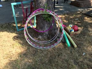 """Circles"" have been used for everything but hula hooping so far - really nice to have more than 1. One of our fav activities is using them as targets for throwing rocks."