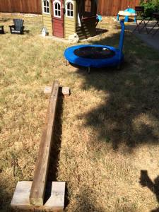 Trampoline and balance beam